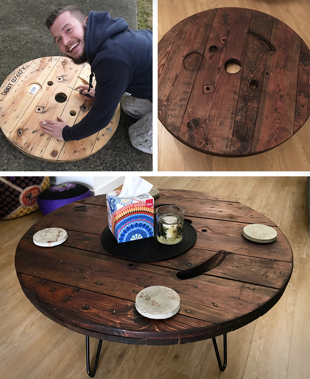 DIY: Upcycled cable drum coffee table